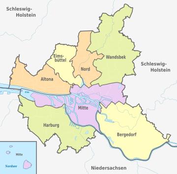 Karte von Freie und Hansestadt Hamburg