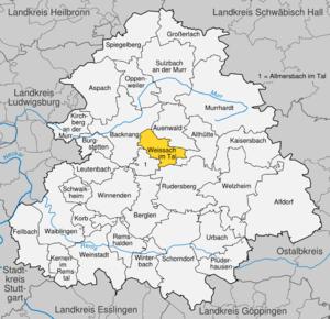 Karte von Weissach im Tal