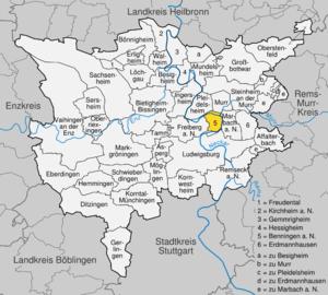 Karte von Benningen am Neckar