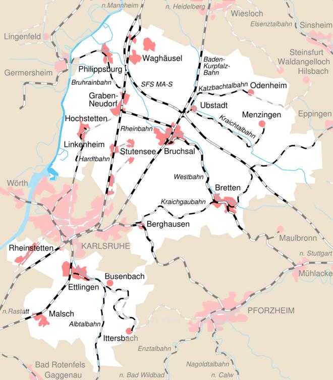 Bild von Karlsruhe (Landkreis): Bahnstreckennetz