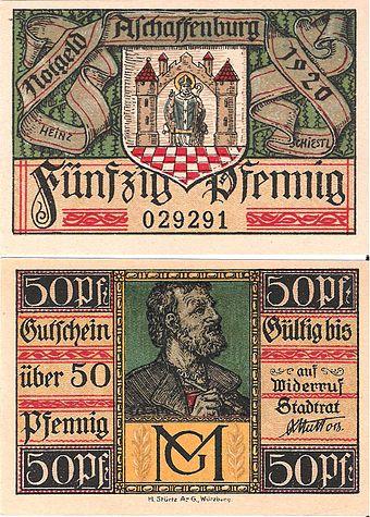 Bild von Aschaffenburg (Landkreis): 50 Pfennig Notgeld der Stadt Aschaffenburg (1920) von Heinz Schiestl gestaltet und der Unterschrift von Oberbürgermeister Wilhelm Matt
