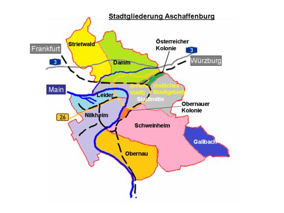 Bild von Aschaffenburg (Landkreis): Stadtgliederung Aschaffenburg