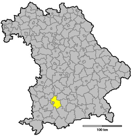 Bild von Landsberg am Lech (Landkreis): Lage in Bayern