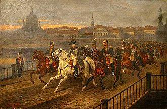Bild von Sachsen: Józef Brodowski, 1895: Napoléon Bonaparte überquert die Elbe bei der Schlacht von Dresden