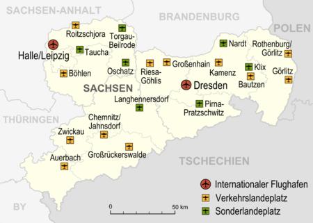 Bild von Sachsen: Karte der Flughäfen und Landeplätze in Sachsen