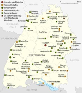 Bild von Baden-Württemberg: Karte der Flughäfen und Landeplätze in Baden-Württemberg
