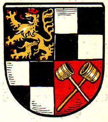 Bild von Schwabach (Landkreis): Nie genutztes Wappen, zeigt noch die Hohenzollernfarben mit dem neuen Pfälzer Löwen