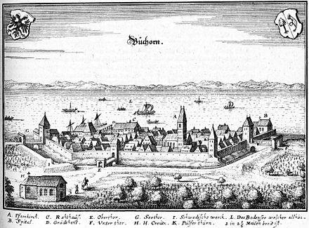 Bild von Friedrichshafen: Buchhorn, Kupferstich von Merian, 1643/1656