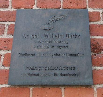 Bild von Hennigsdorf: Gedenktafel für Wilhelm Dürks am Alten Rathaus