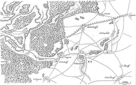 Bild von Teltow: Lauf der Bäke und Teltower See (1780)