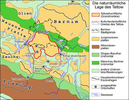 Bild von Teltow: Naturräumliche Lage des Teltow