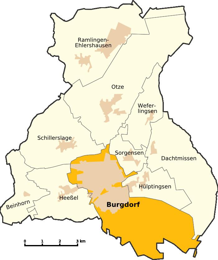 Bild von Burgdorf (Region Hannover): <center>Lage der Kernstadt in der Stadt Burgdorf</center>