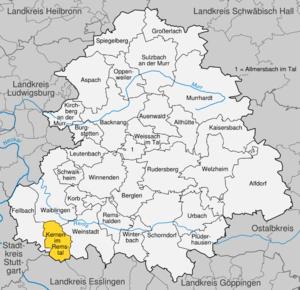 Karte von Kernen im Remstal