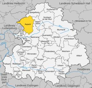 Karte von Aspach (bei Backnang)