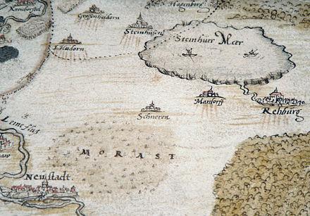 Bild von Neustadt am Rübenberge: Darstellung von Neustadt am Rübenberge mit dem Toten Moor als Morast und dem Steinhuder Meer um 1520 während der Hildesheimer Stiftsfehde, Zeichnung von Johannes Krabbe von 1591