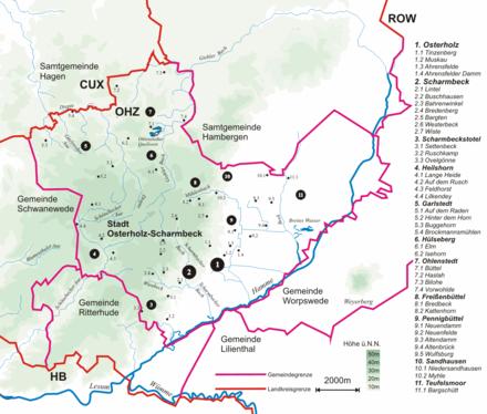 Bild von Osterholz-Scharmbeck: Topografie des Stadtgebiets