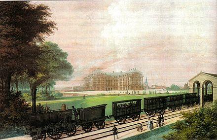 Bild von Brühl (Rheinland): Bonn-Cölner Eisenbahn vor dem Brühler Schloss Augustusburg 1844
