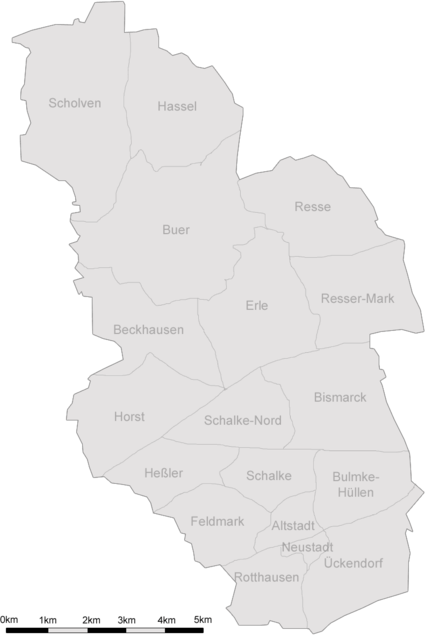 Bild von Gelsenkirchen: Karte von Gelsenkirchen (mit Stadtteilen)