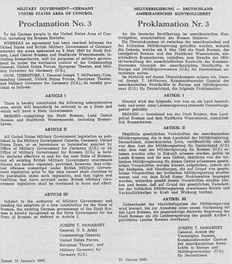 Bild von Bremen: Proklamation Nr. 3 von 1947: Neugründung des Landes Bremen