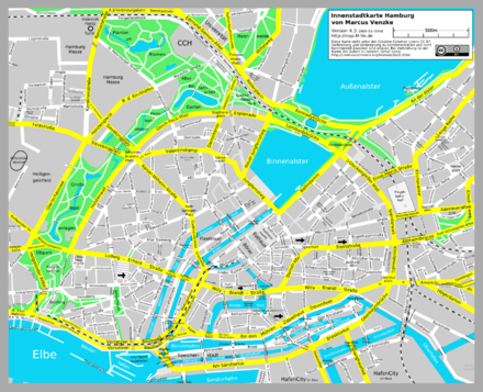 Bild von Hamburg: Innenstadtplan mit Binnen- und Außenalster