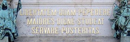Bild von Hamburg: Die Freiheit, die erwarben die Alten, möge die Nachwelt würdig erhalten. Inschrift am Hamburger Rathaus