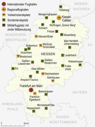 Bild von Hessen: Karte der Flughäfen und Landeplätze in Hessen