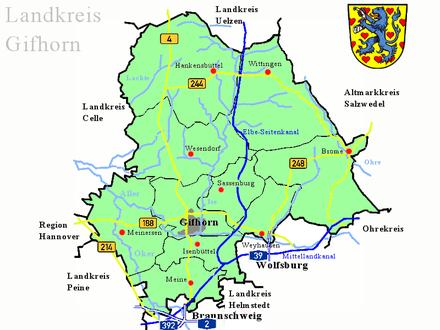 Bild von Gifhorn (Landkreis): Landkarte des Landkreises Gifhorn