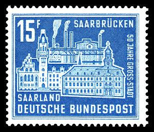 Bild von Saarbrücken: 15 F-Sondermarke der Deutschen Bundespost Saarland (1959) zu 50 Jahre Großstadt Saarbrücken