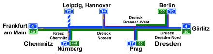 Bild von Chemnitz: Chemnitz im sächsischen Autobahnnetz