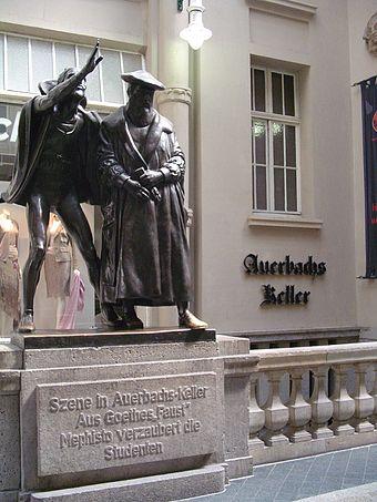 Bild von Leipzig: Faust-Szene vor Auerbachs Keller (Ort des Fassrittes in Goethes Faust I) in der Mädlerpassage