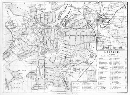Bild von Leipzig: Historischer Stadtplan und Umgebungskarte von Leipzig von 1876