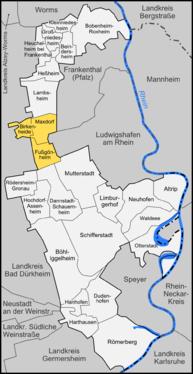 Karte von Verbandsgemeinde Maxdorf
