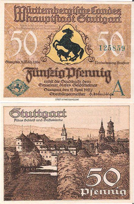 Bild von Stuttgart: 50 Pfennig Notgeldschein der Württembergischen Landeshauptstadt Stuttgart 1921
