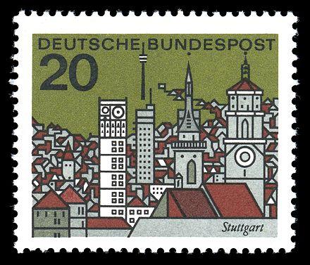 Bild von Stuttgart: Stilisierte Stadtansicht von Stuttgart, Briefmarke der Deutschen Bundespost (1965)