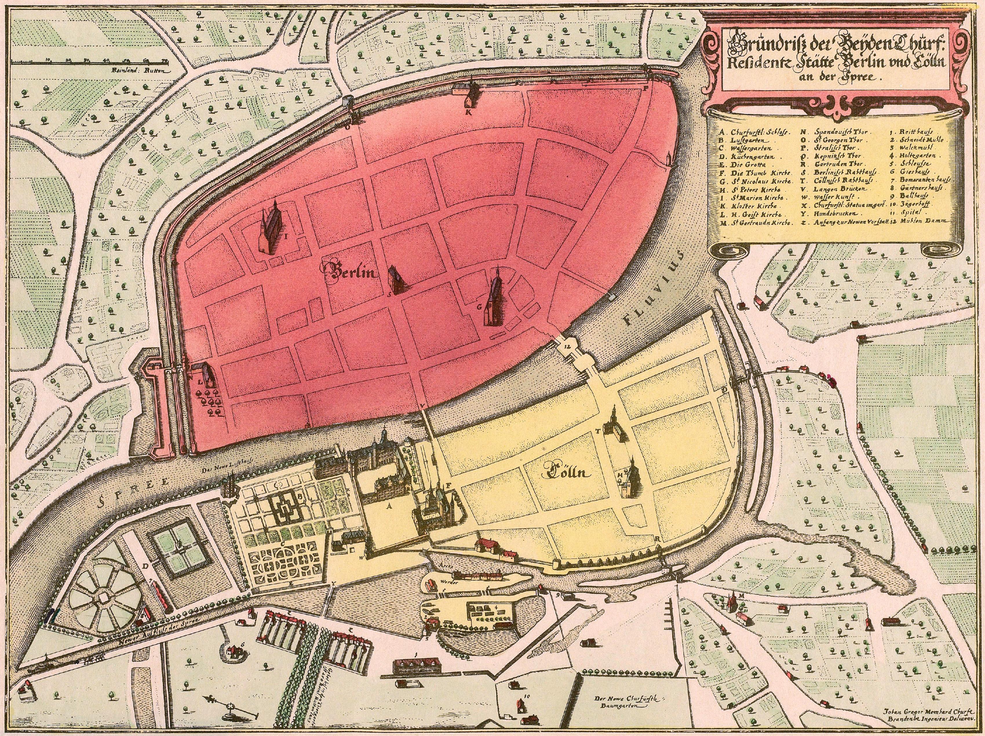 Bild von Berlin: Memhardt Grundriß der Beyden Churf. Residentz Stätte Berlin und Cölln 1652 (1888)
